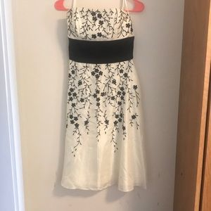 White | Black Strapless Dress, Size 2